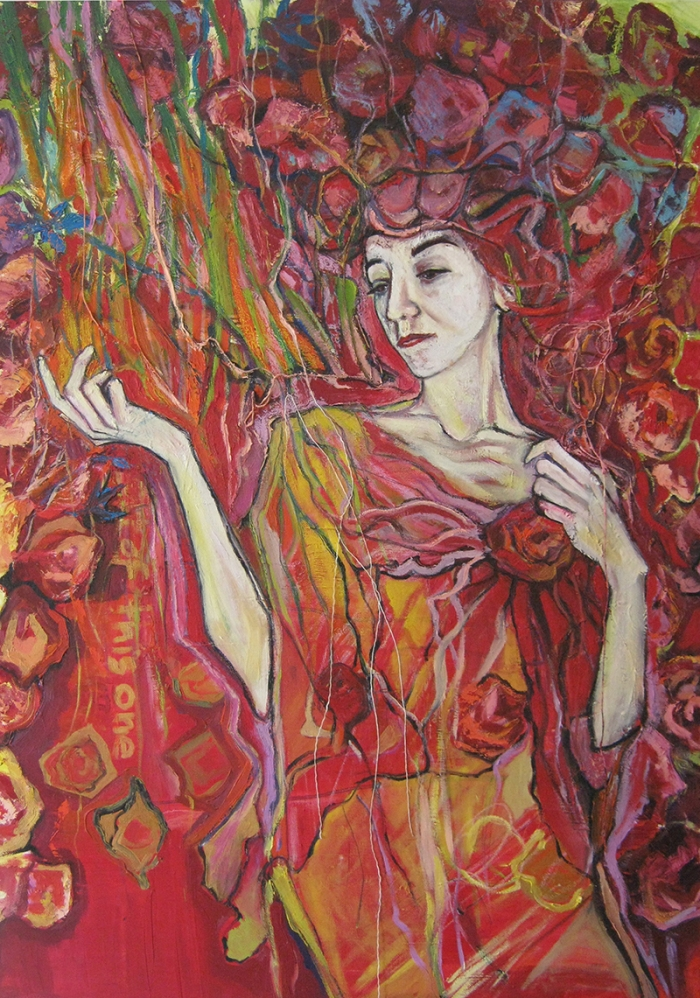 WOMAN WITH LIFE - Self-Portrait - oil on canvas: 100cm/70cm