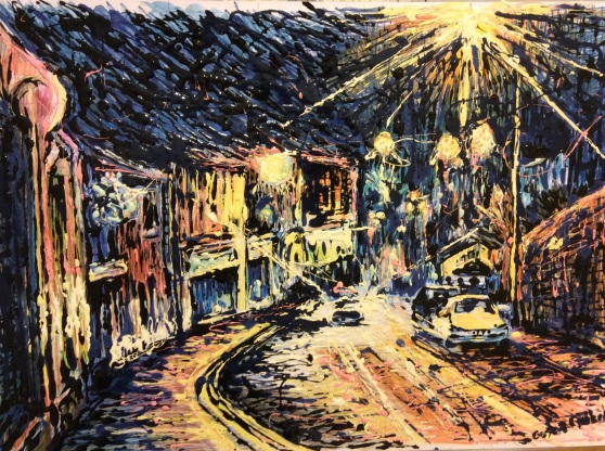 Clitheroe street at night, pencil crayon and enamel on a heavy weight paper.