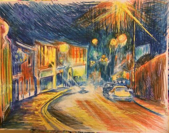 Clitheroe street at night.