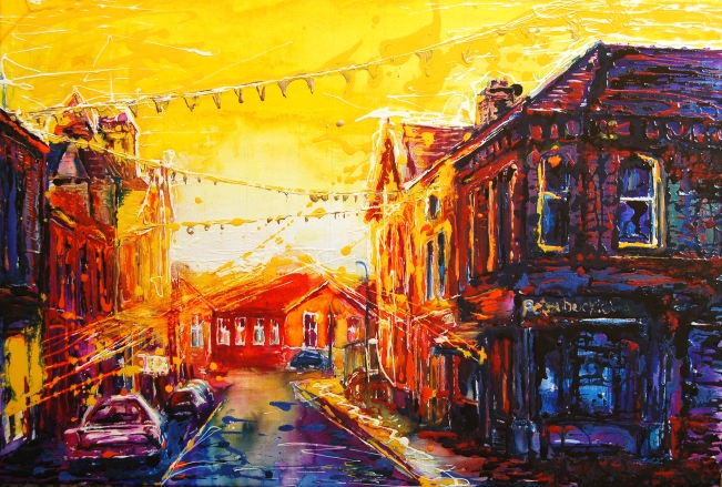 """Sun set taking over the King Street"", ink and enamel on canvas, 45/70 cm Original: £350 High quality giclee print on art paper: £45, unframed"