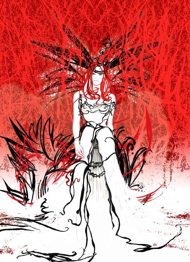 wedding dress red