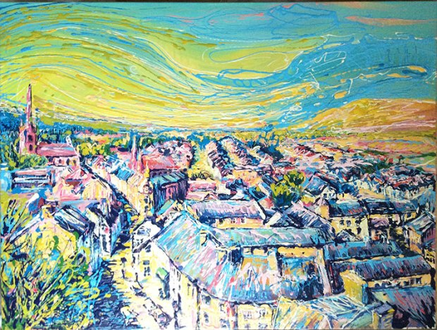 Clitheroe, Oil and enamel on canvas. 100cm/80cm